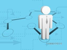 Vector flat 3D symbol of Businessman on Social Networking Circle.