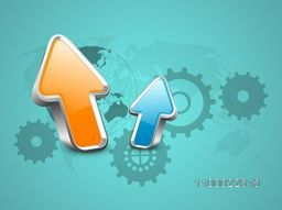3D glossy Arrows on cogwheel background for Business concept.