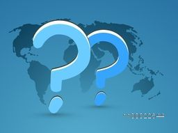 Question mark sign or symbol on world map background for Business concept.