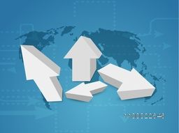 3D Arrows on world map background for Business concept.