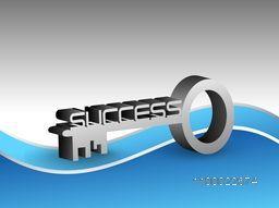 Illustration of a 3D Key with Text Success.