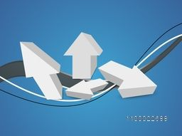 3D creative Arrows with abstract waves for Business concept.