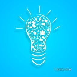Vector illustration of a Bulb with Social Media Sign or Symbol.