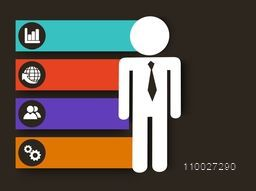 Stylish business infographic layout with businessman and web icons on colorful paper stripes.