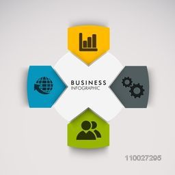 Colorful creative business infographic layout with colorful web icons.