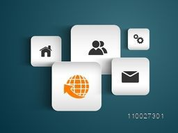 Sticker or label with web icons for business infographic concept.