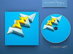 Blue CD Cover with 3D abstract design for business.