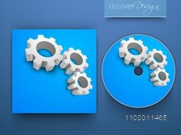 Blue CD Cover design with 3D cogwheels for business.