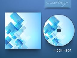 Shiny blue CD Cover layout with abstract geometric design.