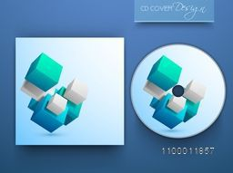 CD Cover design with 3D cubes for business concept.