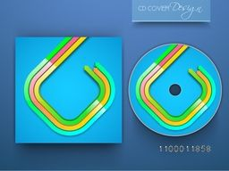 CD Cover design with glossy colorful arrows for business concept.