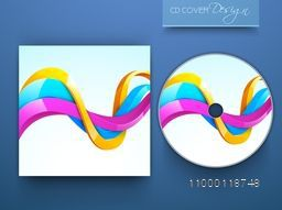 CD Cover design with glossy colorful waves for your business.