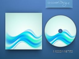 CD Cover design with abstract blue waves for business.