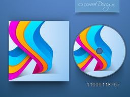 CD Cover design with 3D colorful abstract waves.