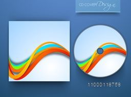 CD Cover design with colorful waves for business concept.