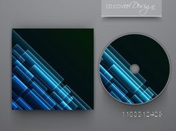 CD Cover with glossy blue abstract design for business.