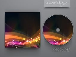 Creative CD Cover design with glowing abstract waves for business.