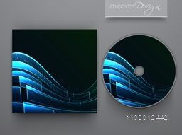 CD Cover design with glossy blue waves for business.