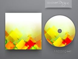 CD Cover layout with abstract geometric design for business.