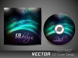 CD Cover design with glowing waves for business concept.