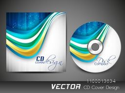 CD Cover design with glossy waves for business.