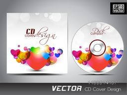 Glossy colorful hearts decorated CD Cover design.
