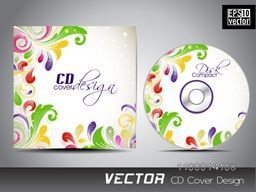 Colorful floral design decorated CD Cover layout.