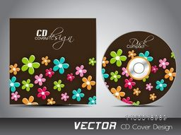 Colorful glossy flowers decorated CD Cover design for your business.