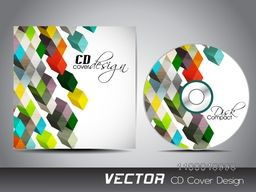 CD Cover with colorful abstract 3D cubes design for your business.