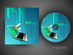 Creative CD Cover design with infographic elements on laptop screen for business.