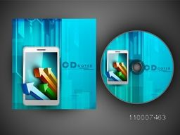 Creative CD Cover design with infographic arrows for business concept.