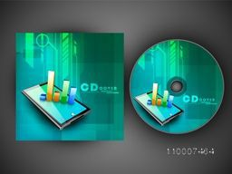 CD Cover design with illustration of colorful statistical bars on digital tablet screen.