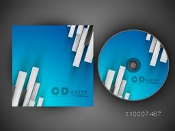 Blue CD Cover with abstract design for business concept.