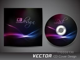 Creative CD Cover design with glowing waves for business concept.