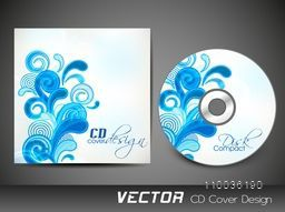 Sky blue floral design decorated CD Cover design for your business.