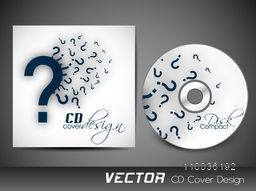 Creative CD Cover design with question mark for idea and business concept.