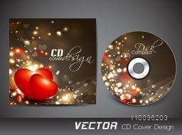 Creative CD Cover design with shiny red hearts for your business.