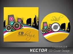 Creative CD Cover design with colorful speaker for music concept.
