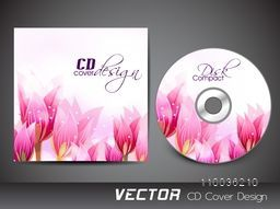 Pink glossy flowers decorated CD Cover design for your business.