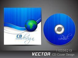 Creative CD Cover design in blue and white colors for your business.