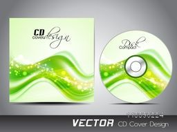 Glossy green waves decorated CD Cover design for your business.