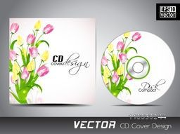 Glossy pink and yellow tulip flowers decorated CD Cover for your business.