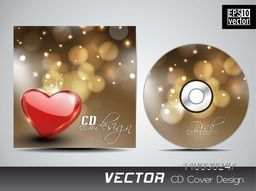 Creative CD Cover design with red glossy heart for your business.