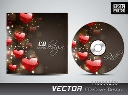 Creative CD Cover design with red glossy hearts for your business.
