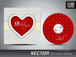 Creative CD Cover design with red heart for your business.