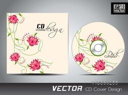 Glossy pink roses decorated CD Cover design for your business.