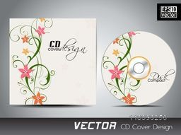 Creative CD Cover design decorated by colorful flowers design.