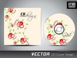 Glossy red roses decorated CD Cover design for your business.