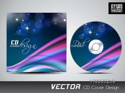 Shiny colorful abstract waves CD Cover design for your business.
