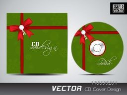Stylish CD Cover design binding by red glossy ribbon for your business.